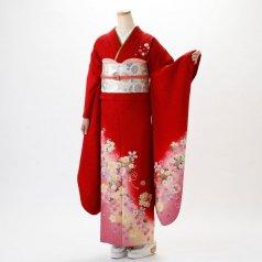 振袖 フルセット 花柄 Lサイズ 赤・ワイン系 (中古 リユース 美品) 16001