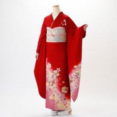 振袖 フルセット 花柄 Mサイズ 赤・ワイン系 (中古 リユース 美品) 16001