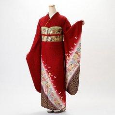 振袖 フルセット 花柄 Mサイズ 赤・ワイン系 (中古 リユース 美品) 16030