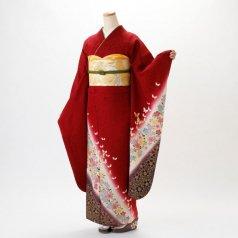 振袖 フルセット 花柄 Lサイズ 赤・ワイン系 (中古 リユース 美品) 16030