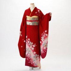 振袖 フルセット 花柄 Mサイズ 赤・ワイン系 (中古 リユース 美品) 16057