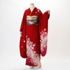 振袖 フルセット 花柄 Lサイズ 赤・ワイン系 (中古 リユース 美品) 16057
