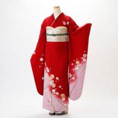 振袖 フルセット 花柄 Mサイズ 赤・ワイン系 (中古 リユース 美品) 16075
