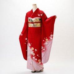 振袖 フルセット 花柄 Lサイズ 赤・ワイン系 (中古 リユース 美品) 16075