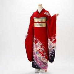 振袖 フルセット 花柄 Lサイズ 赤・ワイン系 (中古 リユース 美品) 16123