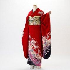 振袖 フルセット 花柄 Mサイズ 赤・ワイン系 (中古 リユース 美品) 16123