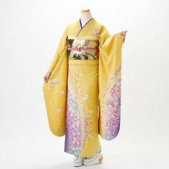 振袖 フルセット 花柄 Mサイズ からし・黄系 (中古 リユース 美品) 36160