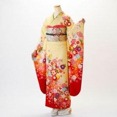 振袖 フルセット 花柄 Mサイズ からし・黄系 (中古 リユース 美品) 36563