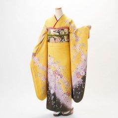 振袖 フルセット 花柄 Mサイズ からし・黄系 (中古 リユース 美品) 36061