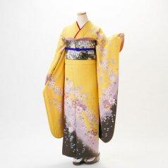 振袖 フルセット 花柄 Lサイズ からし・黄系 (中古 リユース 美品) 36061