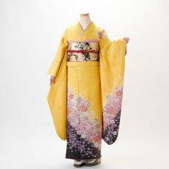 振袖 フルセット 花柄 Mサイズ からし・黄系 (中古 リユース 美品) 36137