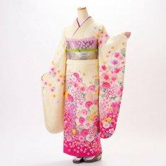 振袖 フルセット 花柄 Mサイズ からし・黄系 (中古 リユース 美品) 36506