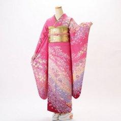 振袖 フルセット 花柄 Mサイズ ピンク・オレンジ系 (中古 リユース 美品) 46157