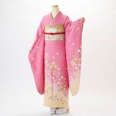 振袖 フルセット 花柄 Mサイズ ピンク・オレンジ系 (中古 リユース 美品) 46128