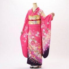 振袖 フルセット 花柄 Lサイズ ピンク・オレンジ系 (中古 リユース 美品) 46180