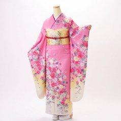 振袖 フルセット 花柄 Mサイズ ピンク・オレンジ系 (中古 リユース 美品) 46268