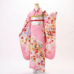 振袖 フルセット 古典柄 Mサイズ ピンク・オレンジ系 (中古 リユース 美品) 40261