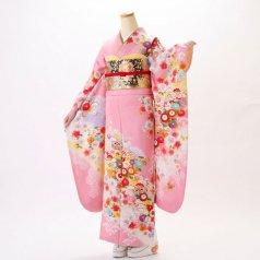 振袖 フルセット 古典柄 Lサイズ ピンク・オレンジ系 (中古 リユース 美品) 40261