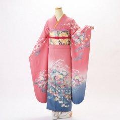 振袖 フルセット 古典柄 Mサイズ ピンク・オレンジ系 (中古 リユース 美品) 40229