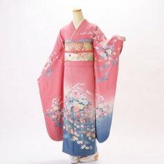 振袖 フルセット 古典柄 Lサイズ ピンク・オレンジ系 (中古 リユース 美品) 40229