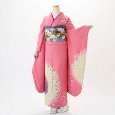 振袖 フルセット 花柄 Lサイズ ピンク・オレンジ系 (中古 リユース 美品) 46041