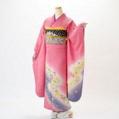 振袖 フルセット 花柄 Mサイズ ピンク・オレンジ系 (中古 リユース 美品) 46043