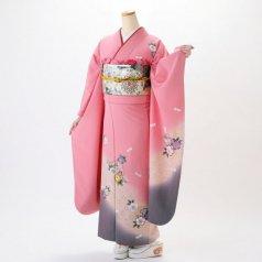 振袖 フルセット 花柄 Lサイズ ピンク・オレンジ系 (中古 リユース 美品) 46007