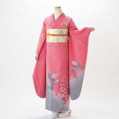 振袖 フルセット 花柄 Lサイズ ピンク・オレンジ系 (中古 リユース 美品) 46013