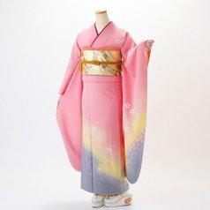 振袖 フルセット 花柄 Lサイズ ピンク・オレンジ系 (中古 リユース 美品) 46014
