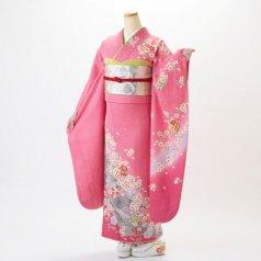 振袖 フルセット 花柄 Mサイズ ピンク・オレンジ系 (中古 リユース 美品) 46126