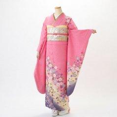 振袖 フルセット 花柄 Mサイズ ピンク・オレンジ系 (中古 リユース 美品) 46136