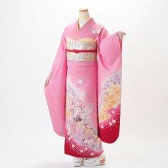 振袖 フルセット 花柄 Mサイズ ピンク・オレンジ系 (中古 リユース 美品) 46138