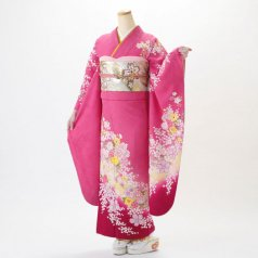 振袖 フルセット 花柄 Mサイズ ピンク・オレンジ系 (中古 リユース 美品) 46168