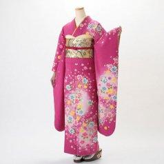 振袖 フルセット 花柄 Mサイズ ピンク・オレンジ系 (中古 リユース 美品) 46189