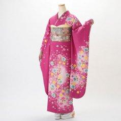 振袖 フルセット 花柄 Lサイズ ピンク・オレンジ系 (中古 リユース 美品) 46189