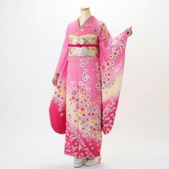 振袖 フルセット 花柄 Mサイズ ピンク・オレンジ系 (中古 リユース 美品) 46198