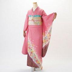 振袖 フルセット 花柄 Mサイズ ピンク・オレンジ系 (中古 リユース 美品) 46030