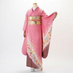 振袖 フルセット 花柄 Lサイズ ピンク・オレンジ系 (中古 リユース 美品) 46030