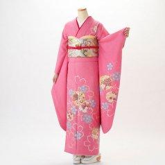 振袖 フルセット 花柄 Mサイズ ピンク・オレンジ系 (中古 リユース 美品) 46152