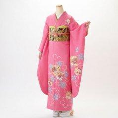 振袖 フルセット 花柄 Lサイズ ピンク・オレンジ系 (中古 リユース 美品) 46152