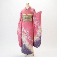 振袖 フルセット 花柄 Mサイズ ピンク・オレンジ系 (中古 リユース 美品) 46061