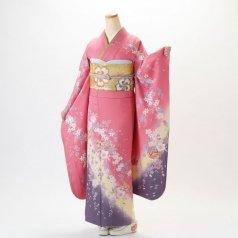 振袖 フルセット 花柄 Lサイズ ピンク・オレンジ系 (中古 リユース 美品) 46061