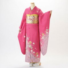 振袖 フルセット 花柄 Lサイズ ピンク・オレンジ系 (中古 リユース 美品) 46075