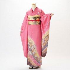 振袖 フルセット 花柄 Mサイズ ピンク・オレンジ系 (中古 リユース 美品) 46999