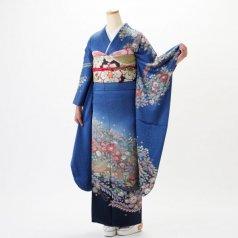 振袖 フルセット 辻が花 Lサイズ 青・紺系 (中古 リユース 美品) 22007
