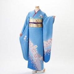 振袖 フルセット 花柄 Mサイズ 青・紺系 (中古 リユース 美品) 26082