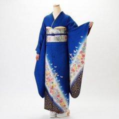 振袖 フルセット 花柄 Mサイズ 青・紺系 (中古 リユース 美品) 26030