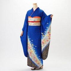 振袖 フルセット 花柄 Lサイズ 青・紺系 (中古 リユース 美品) 26030