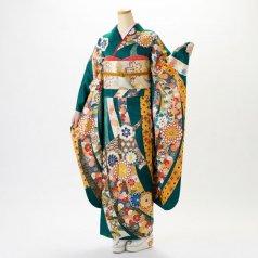 振袖 フルセット 古典柄 Mサイズ 青・紺系 (中古 リユース 美品) 20999