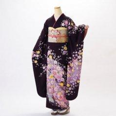 振袖 フルセット 花柄 Lサイズ 紫系 (中古 リユース 美品) 56218
